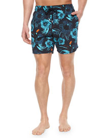 Moorea Toucan-Print Swim Trunks, Navy