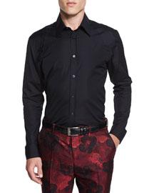 Harness Long-Sleeve Sport Shirt, Black