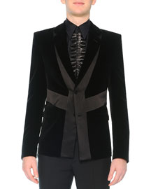 Velvet Evening Jacket with Satin Detail, Black