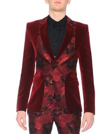 Velvet Evening Jacket with Poppy Front, Burgundy