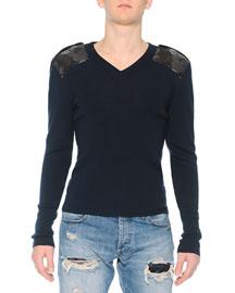 Crewneck Sweater with Poppy-Brocade Shoulders, Navy