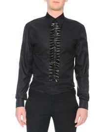Poplin Shirt with Leather Ruffle, Black