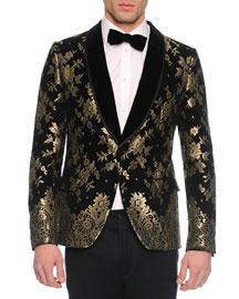 Chantilly Lace Velvet Evening Jacket, Black/Gold