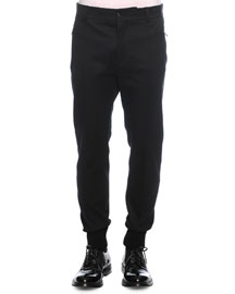 Woven Jogger Trouser Pants, Black