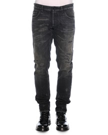 Distressed Washed Denim Jeans, Black