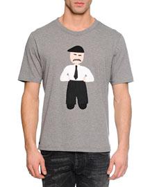 Man-Applique Woven T-Shirt, Gray