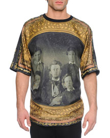 Vintage Portrait-Print Short-Sleeve Tee, Gold/Black