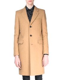Camelhair Single-Breasted Coat, Tan