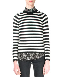 Shetland Striped Crewneck Sweater, Black