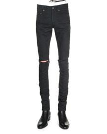 Split-Knee Destroyed Denim Jeans, Black