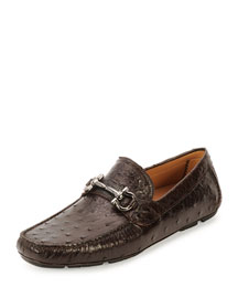 Ostrich Leather Gancini Driver, Brown