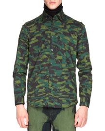 Camo-Print Button-Down Shirt, Green/Navy
