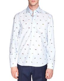 UFO-Print Long-Sleeve Poplin Shirt, Blue