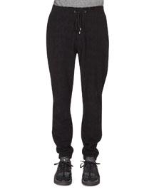 Textured Drawstring Jogging Pants, Black