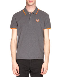 Tipped Tiger Short-Sleeve Pique Polo Shirt, Gray/Orange