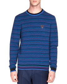 Multi-Tribal Striped Sweater, Blue