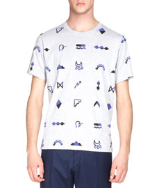 Multi-Icon Short-Sleeve Graphic Tee, Gray/Blue