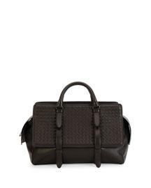 Monaco Men's Woven Leather Runway Bag, Brown