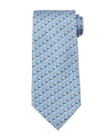 Duck-Print Silk Tie, Light Blue
