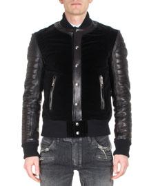 Short Varsity Jacket, Black