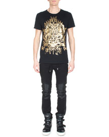Foil-Print Short-Sleeve T-Shirt, Gold