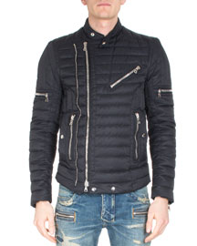Asymmetric Puffer Moto Jacket, Black