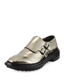 Shiny Double-Monk Strap Shoe, Gunmetal
