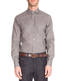 Micro-Houndstooth Woven Shirt, Brown
