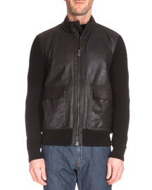 Leather-Front Sweater Jacket, Black