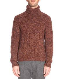 Speckled Cashmere Turtleneck Sweater, Brown