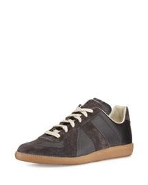 Replica Leather Low-Top Sneaker, White