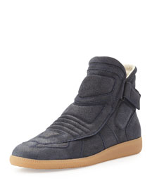 Moto Leather High-Top Sneaker, Navy