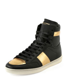 SL/18H Leather High-Top Sneaker, Black/Gold