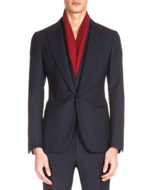 Wool Two-Button Jacket with Gilet, Navy