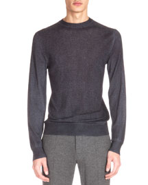 Cashmere-Blend Crewneck Sweater, Charcoal