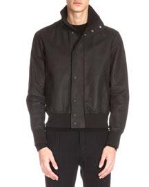 Leather Bomber Jacket, Black