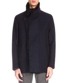 Fur-Lined Wool Jacket, Navy