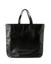 Rider Leather Shopping Bag, Black