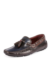 Saturnin Leather Driver Shoe, Brown/Blue