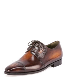 Perforated Lace-Up Derby Shoe, Tobacco