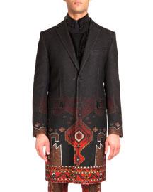 Degrade Persian-Print Long Coat, Black