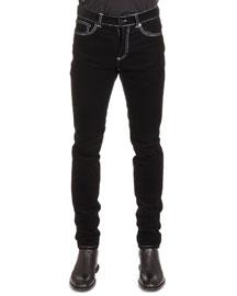 Five-Pocket Cord Denim Jeans, Black