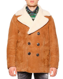 Long-Sleeve Shearling Fur-Collar Coat, Brown