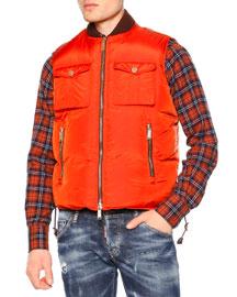 Zip-Front Puffer Vest, Orange