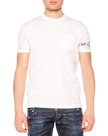 Crewneck Tee with Barbed Wire Detail, White