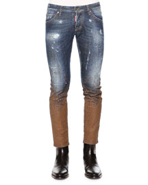 Slim-Fit Distressed Mud Denim Jeans, Blue