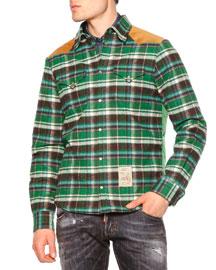 Long-Sleeve Flannel Shirt w/Puffer Back, Green