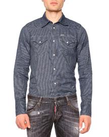 Micro-Jacquard Western Sport Shirt, Blue