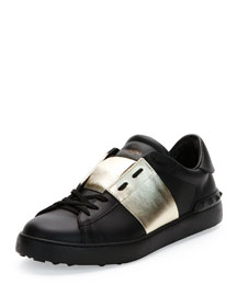 Low-Top Sneaker with Stripe, Black/Gold