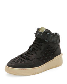 Rock Be Leather High-Top Sneaker, Black